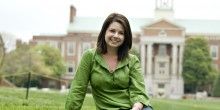 Amber Kirby Talley (JD '10) poses on the Wake Forest Quad in spring of 2010.