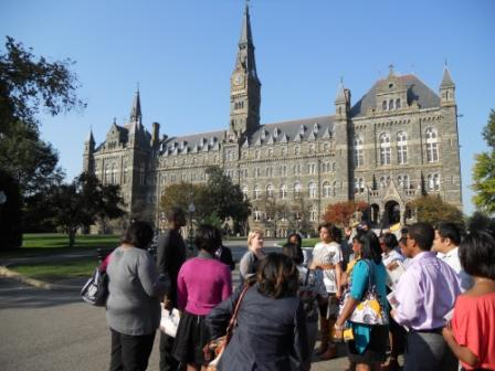High school students from the Winston-Salem area on a recent tour of Georgetown University.