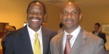 Dean Blake Morant poses with Paul Lancaster Adams (&#039;93) after Adams spoke to students as part of the law school&#039;s professionalism speaker series.