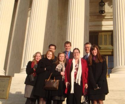 Group photo of appellate advocacy clinic visiting the Supreme Court