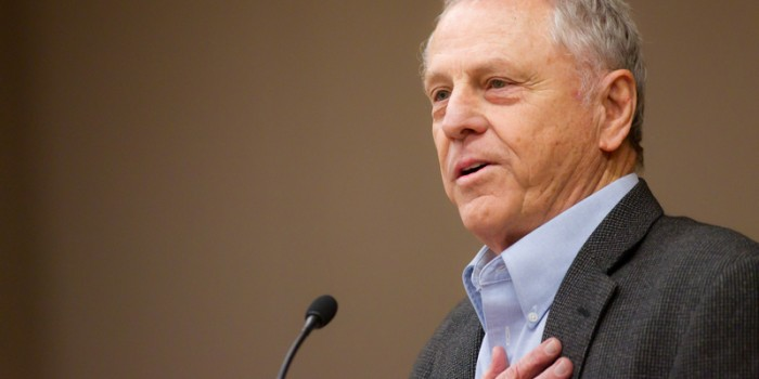 "Morris Dees, founder of the Southern Poverty Law Center, gives the keynote address, ""With Justice For All,"" at the Wake Forest University School of Law's annual Public Interest Retreat in the Worrell Professional Center on Friday, Feb. 4, 2011."