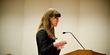 Photo of Megan Curran arguing in front of the North Carolina Court of Appeals