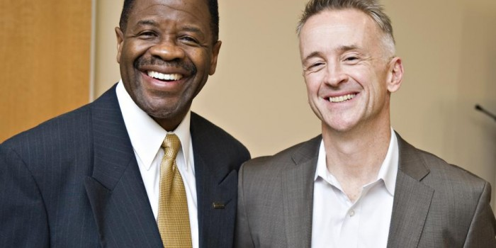 Dean Blake Morant poses with Wake Forest University School of Law Alumnus Reid Hunter ('86).