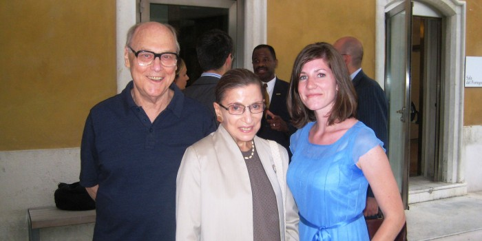 Group photo of Martin Ginsburg, U.S. Supreme Court Justice Ruth Bader Ginsburg and Erin Hartnett ('10).