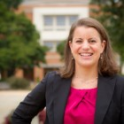 Photo of Francie Scott (JD '04), assistant director of Career and Professional Development at the Wake Forest School of Law, outside the Worrell Professional Center
