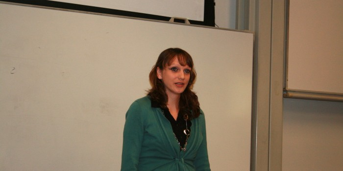 Janine Reder of Germany speaks during the LLM Women in Law Panel on Oct. 5.