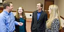 Robert F. Kennedy Jr. chats with law students after an intimate talk at Wake Forest law school on Friday, Nov. 4.