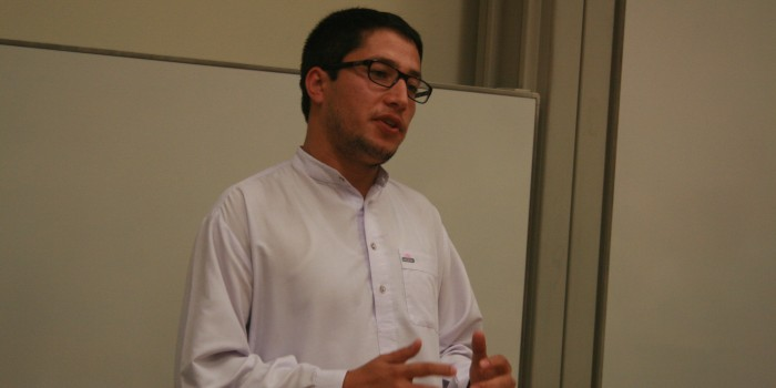 Yama Keshawerz, Wake Forest University School of Law's first student from Afghanistan, gives a presentation on 'Afghanistan after 9/11.'