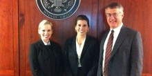 Photo of Katie Heath ('12), Caroline Trapeni ('12) and Professor John Korzen, director of the Appellate Advocacy Clinic, pose after Trapeni argued in the Seventh Circuit in Chicago on Tuesday, April 10.