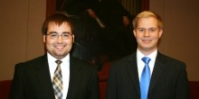 Photo of Michael Bixby ('14) and Justin May ('14) as finalists in the 41st annual Walker Moot Court Competition.