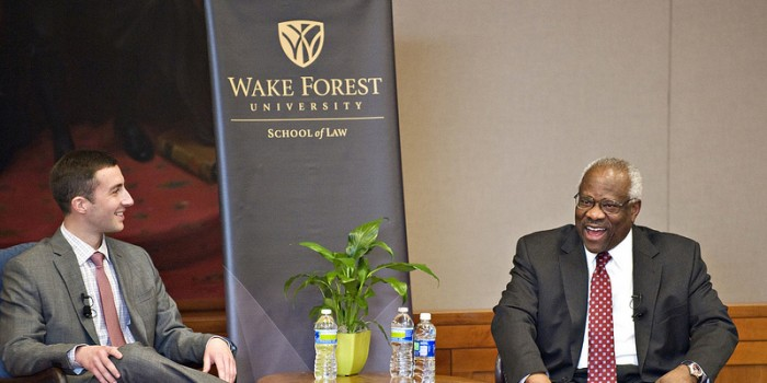 Photo of a conversation with U.S. Supreme Court Justice Clarence Thomas