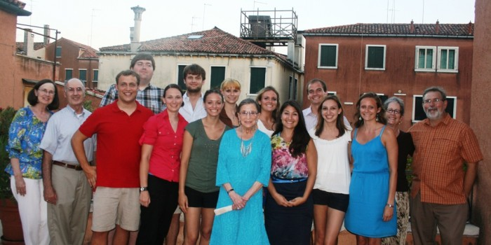 Group photo of US Supreme Court Justice Ruth Bader Ginsburg with Wake Forest study abroad students and faculty following a dinner hosted at Casa Artom in Venice, Italy