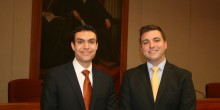 Photo of Austen Irrobali ('14) and Pat Naples ('14), 2012 Stanley Moot Court Competition Finalists