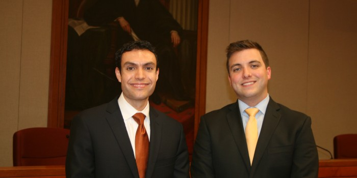Austen Irrobali ('14) and Pat Naples ('14), 2012 Stanley Moot Court Competition Finalists