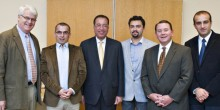 Photo of Bobby Higdon (second from right) with law school associate dean Dick Schneider (far left) and U.S. Department of Justice official Carl Alexandre (third from left) with Kosovo students Shqipdon Fazliu, Kreshnik Radoniqi and Valon Kurtaj.