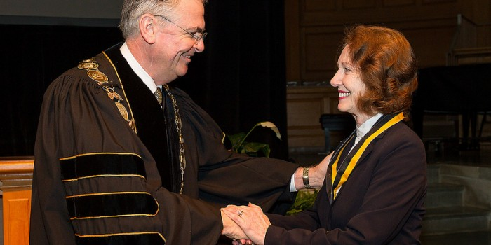 Wake Forest School of Law professor and former North Carolina Supreme Court Justice Rhoda Billings is awarded the Medallion of Merit, the university's highest honor, at Founder's Day Convocation in Wait Chapel on Thursday, February 21, 2013.