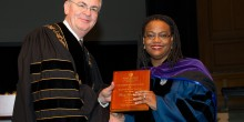 Photo of Professor Tracey Banks Coan receiving the Joseph Branch Excellence in Teaching Award.