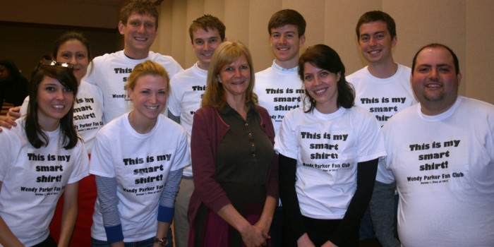 "Photo of Professor Wendy Parker posing with her 1L Fan Club following her recent ""Conversation With"" event."