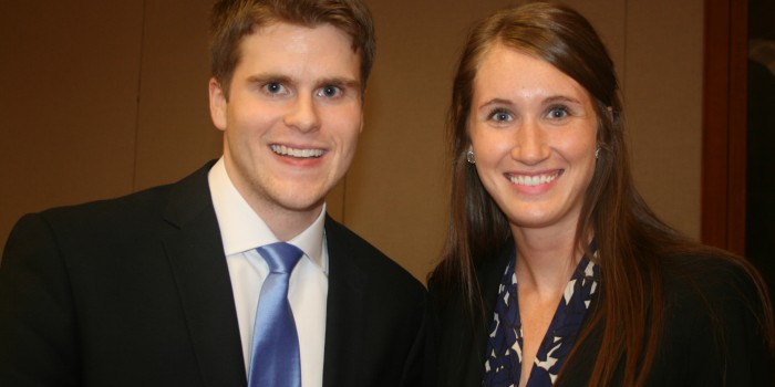 Photo of 42nd annual George K. Walker Moot Court Competition finalists Josh Adams ('15) and Kelsey Meuret ('15)