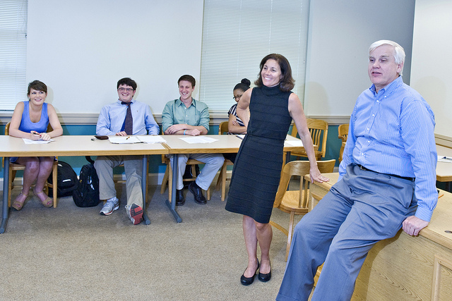 Professor Chris Coughlin and Professor Wilson Parker teaches a class of undergraduate students as part of the Law School's summer pre-law program.