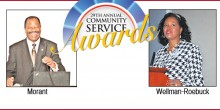 Photo graphic of Dean Blake Morant and Twana Wellman-Roebuck with the title '29th Annual Community Service Awards'