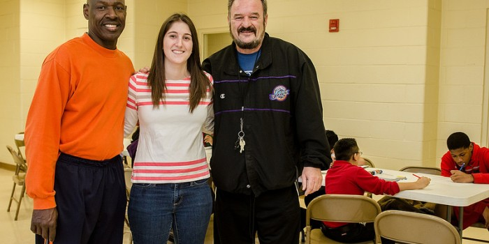 Group photo of Hanes Hosiery Center Coach John Torian, Allison Levene ('14) and Coach Art Blevins