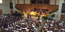 Photo from balcony of audience at the 2014 Hooding Ceremony in Wait Chapel