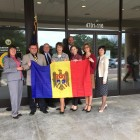 Members of the Moldova Congressional Delegation visited N.C. government officials in Raleigh on Monday, Sept. 29. From left: Oxana Gumennaia, Vitalie Mester, Deputy N.C. Secretary of State Rodney Maddox, N.C. Secretary of State Elaine Marshall, Brian Anderson, Brian Anderson, Ana Furtuna, Natalia Molosag and Alexandra Sian
