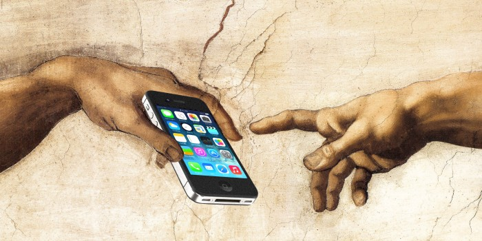Graphic of two hands reaching toward an iphone