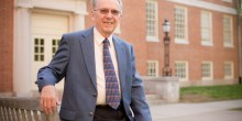 Photo of Wake Forest history professor Ed Hendricks outside Tribble Hall on Tuesday, April 21, 2009.