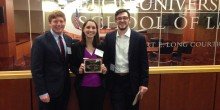 Group photo of Wake Forest Billing Exum Frye Moot Court Team with award