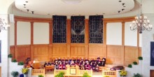 Photo of the inside of Wait Chapel at hooding ceremony