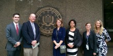 Group photo of law students outside the FBI building in Washington, D.C.