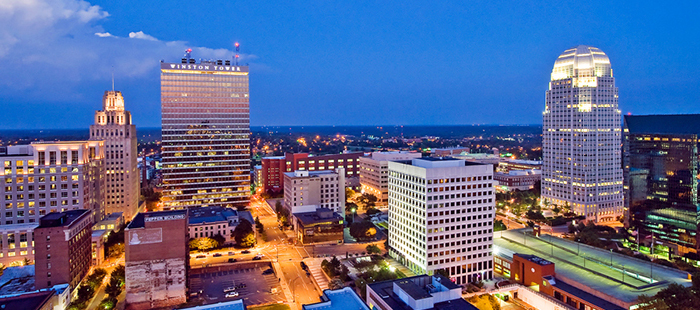 Photo of the Winston-Salem Skyline at dusk