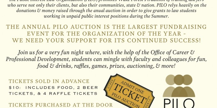 Graphic of 2016 Annual PILO Auction event details