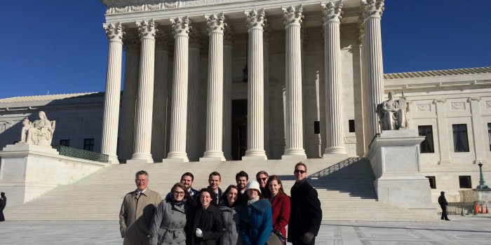 Group photo of appellate clinic outside of Supreme Court