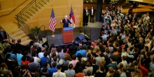 Photo of President Clinton presenting at Worrell Professional Center