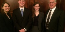 Third-year law students Lauren Emery, Woody Angle, Kaitlin Price and Professor John Korzen pose in NYC during the National Moot Court finals.