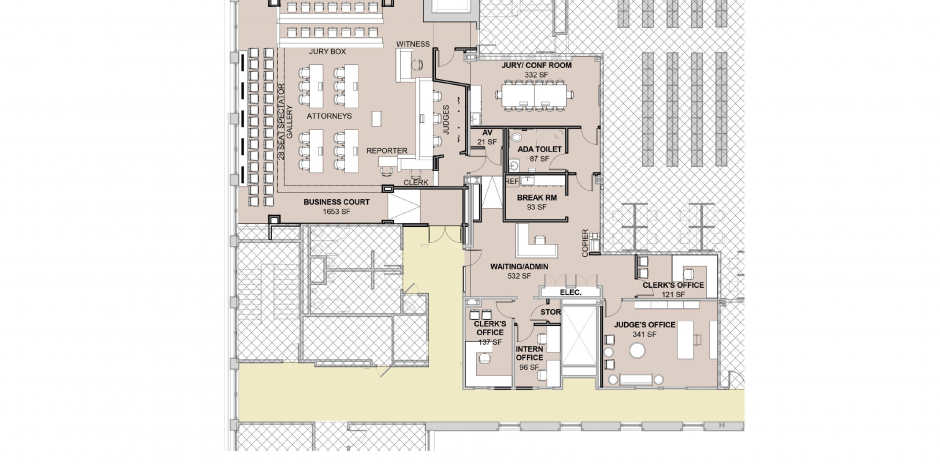 Graphic of 4/15/2016 blueprints for proposed NC Business Courtroom Suite, including main courtroom, admin/waiting area, two clerk's offices, intern office, storage, and the judge's office
