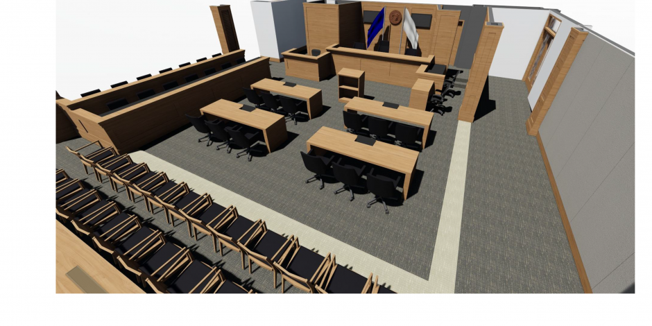 Graphic of 4/15/2016 rendering of proposed NC Business Courtroom