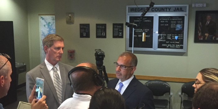 Photo of Professor Mark Rabil speaking with reporters following a hearing in Iredell County Superior Court for an Innocence and Justice Clinic client