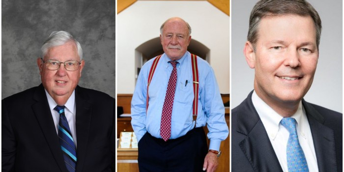 Photo collage of alumni, the Honorable Richard L. Doughton, James R. Van Camp, and Marc L. Isaacson