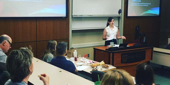Photo of Brandy Nickoloff (JD '18) presenting her 'Limitless' program to faculty and staff.