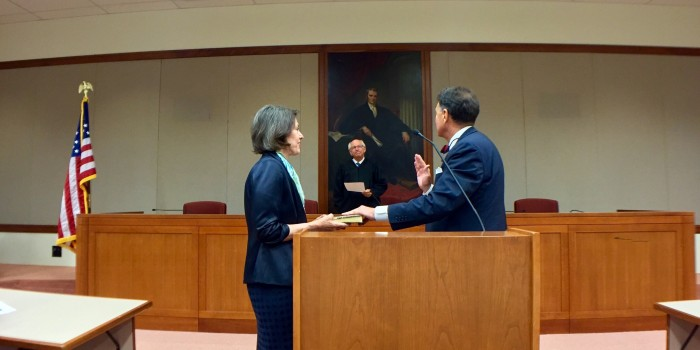 Photo of Judge Robinson swearing in ceremony