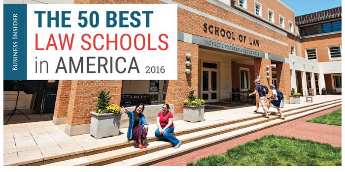 Photo of two students outside the Worrell Professional Center with the text, 'Business Insider The 50 Best Law Schools in America 2016'
