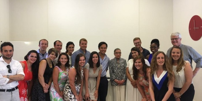 Photo of group of students with U.S. Supreme Court Justice Ruth Bader Ginsberg