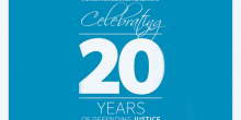 Graphic that says 'The North Carolina Justice Center is Celebrating 20 Years of Defending Justice'
