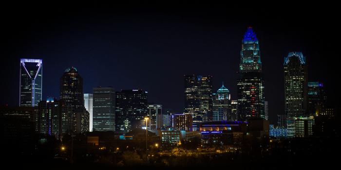 Photo of Charlotte, NC skyline at night