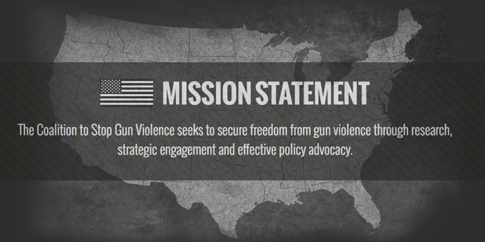 Graphic of United States Map that says 'Mission Statement The Coalition to Stop Gun Violence seeks to secure freedom from gun violence through research, strategic engagement and effective policy advocacy.'