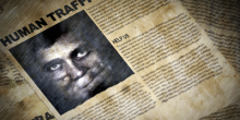Photo graphic of newspaper with child's face and the text 'Human Trafficking Help Us'